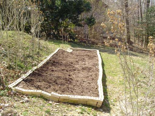 A new raised bed, bordered by recycled bricks, is filled with topsoil and compost, ready for planting.