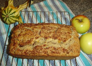 Do you see the bits of fresh apple and pecan baked into the loaf?  The topping is cinnamon and raw sugar.