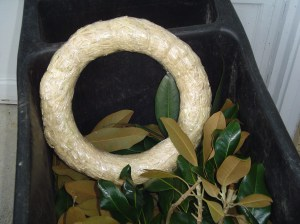 This straw wreath form forms the base for the wreath.