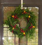 The finished wreath hanging on our community center door.