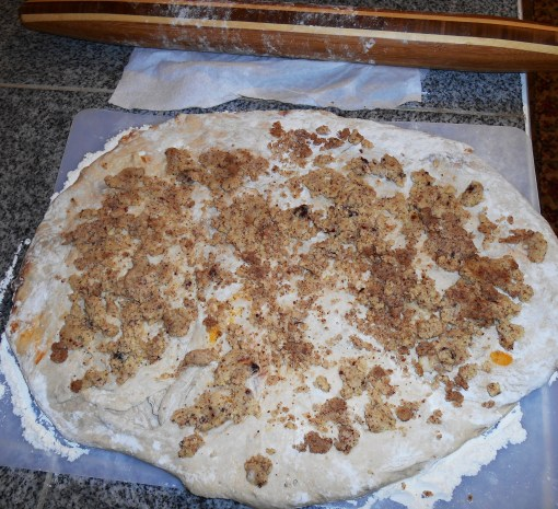 The dough is sprinkled with all of the leftover marzipan I could find in the refrigerator.