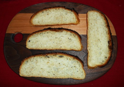 Slices of the first loaf of bread from this starter, baked yesterday with white bread flour.  Sourdough makes wonderful toast.