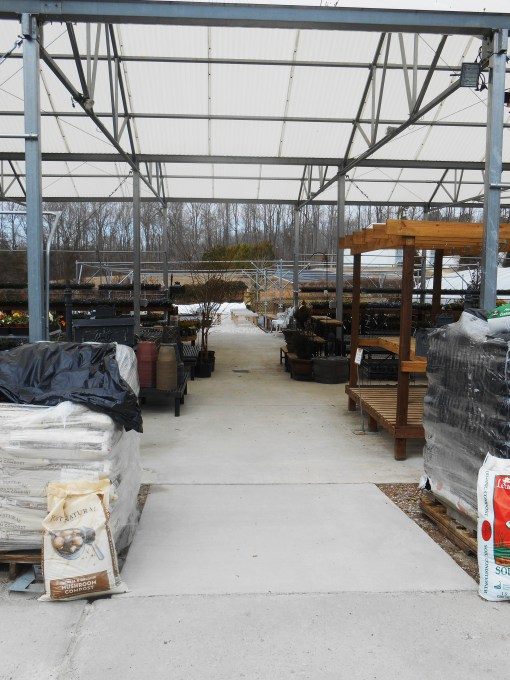 Homestead Garden Center this morning, before the plants were brought back out of the greenhouse.