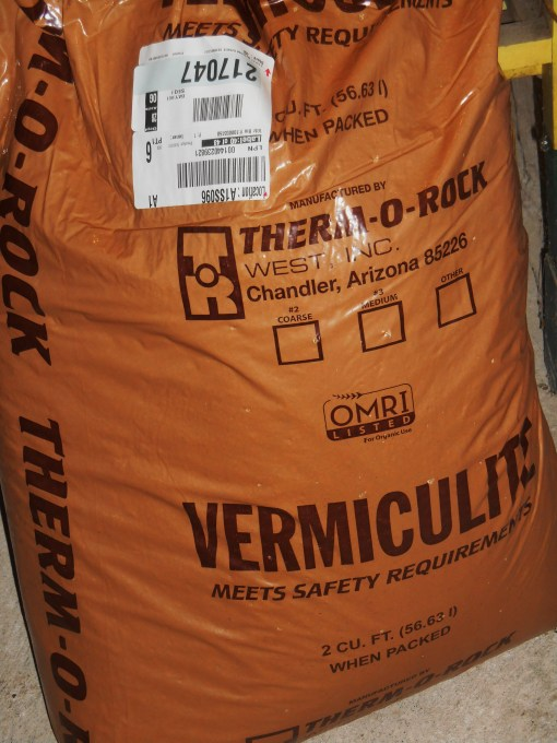 Two cubic feet of vermiculite.