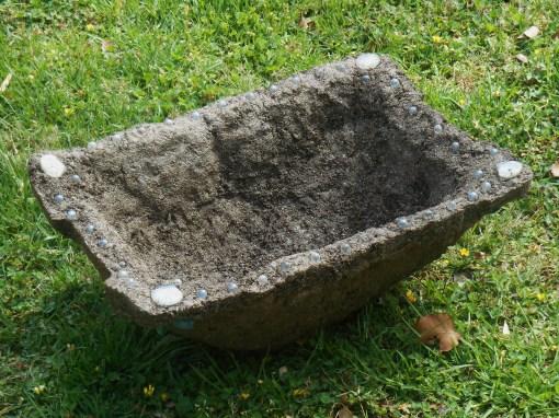 The large hypertufa pot I've made for our stump garden.