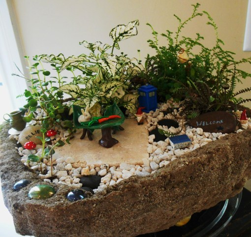 Our  gnome garden, a collaboration of several friends.
