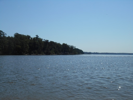 Looking across the James towards Surry County..  New contruction will begin soon on the point of land to the left.
