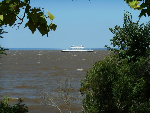 The Jamestown ferry navigated a very choppy James River on it route across to Surry County this morning.