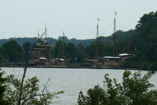 Replicas of the original Seventeenth Century ships moored at Jamestown.