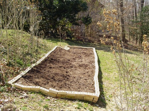 March of 2010, our newly built bed is ready to plant.