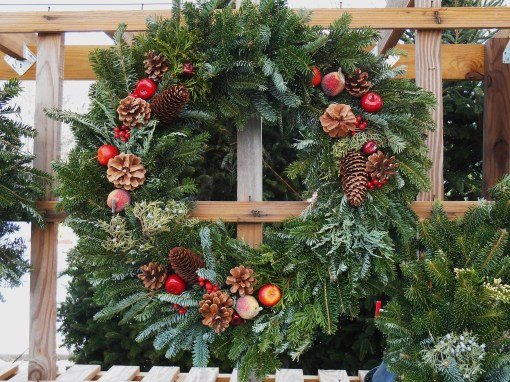 A handmade wreath for sale at The Homestead Garden Center in Williamsburg, VA.