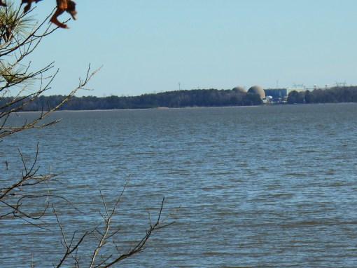 Surry nuclear power station as seen across the james River from the Colonial Parkway, ,near Jamestown Island.