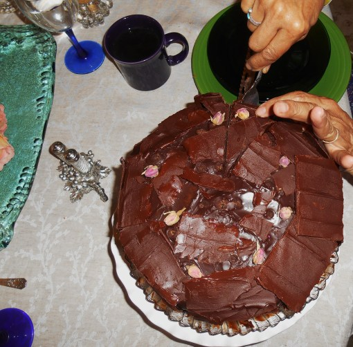 Our friend cut generously huge slices of her cake to share with us all.