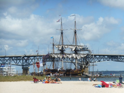The Hermione is anchored at the beach in Yorktown.