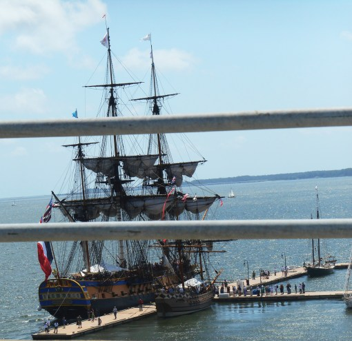 Our view of The Hermione as we crossed the Coleman Bridge above her.