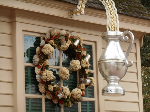 This wreath hangs at Chowning's Tavern, in Colonial Williamsburg.