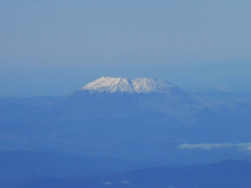 Mt. St. Helen, as seen through the plane's window descending into Portland Oregon.